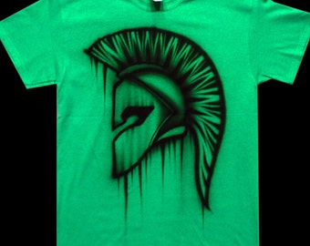Airbrushed Spartan Helmet T Shirt Hand Painted airbrush