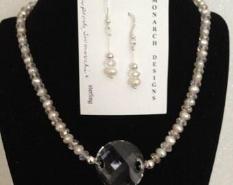Pearl and swarovski classic beauty