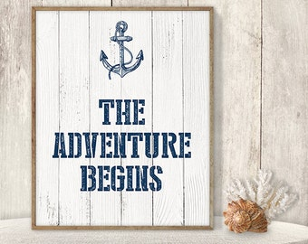 The Adventure Begins // Rustic Wedding Sign DIY // Nautical Adventure Sign, Navy Anchor Printable PDF // Nautical Planks ▷ Instant Download