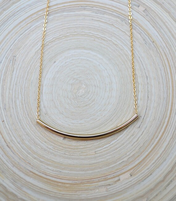 Gold Tube Bar Necklace, Gold Bar Necklace, Thin Gold Bar Necklace, Gold Filled Bar Necklace, Bar Necklace