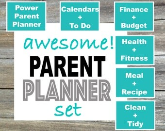 Awesome Parent Planner Set / Parent Planner / Mom Planner / Dad Planner / Household Binder - From the Minimalist Collection - 6 Items