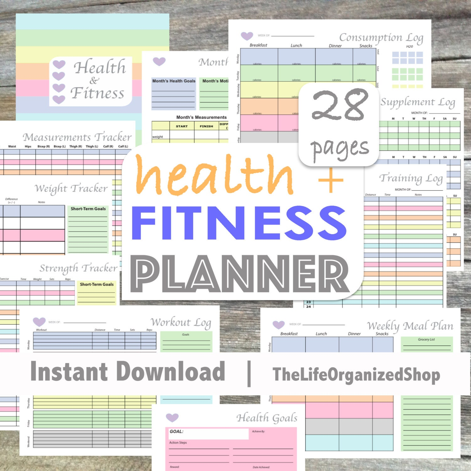 Fitness Planner Health Planner Fitness Journal Weekly