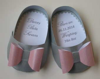 Personalised Baby Girl Shoe Card