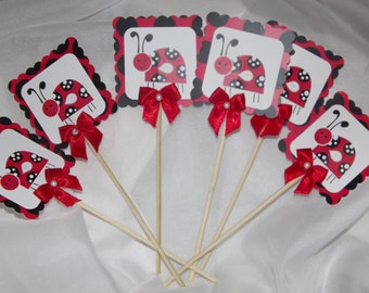 Ladybug Cupcake Toppers -- Cupcake Topper