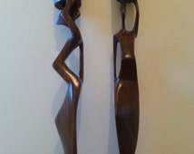 Pair of Female Figure Candle Holders, Hand Carved in Ghana