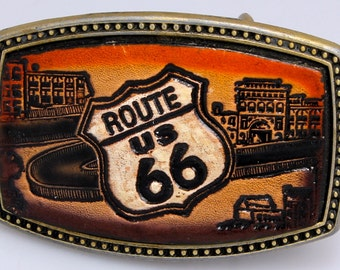 Route 66 Brass and Leather Belt Buckle