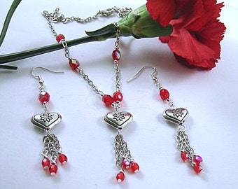 Metal Heart Necklace and Earrings with Red Crystal Dangles
