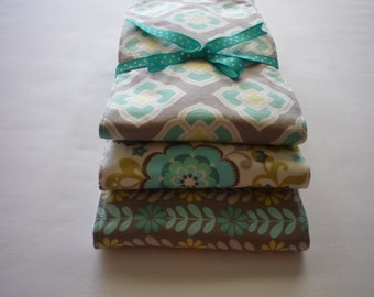 Baby girl burp cloths...Custom Modern Fabric Trimmed Burp Cloths...matches quilt of same fabrics...made with Premium 6 ply cloth diapers