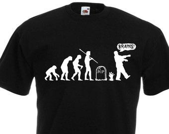 Zombie evolution. Black Men's Cotton T-shirt