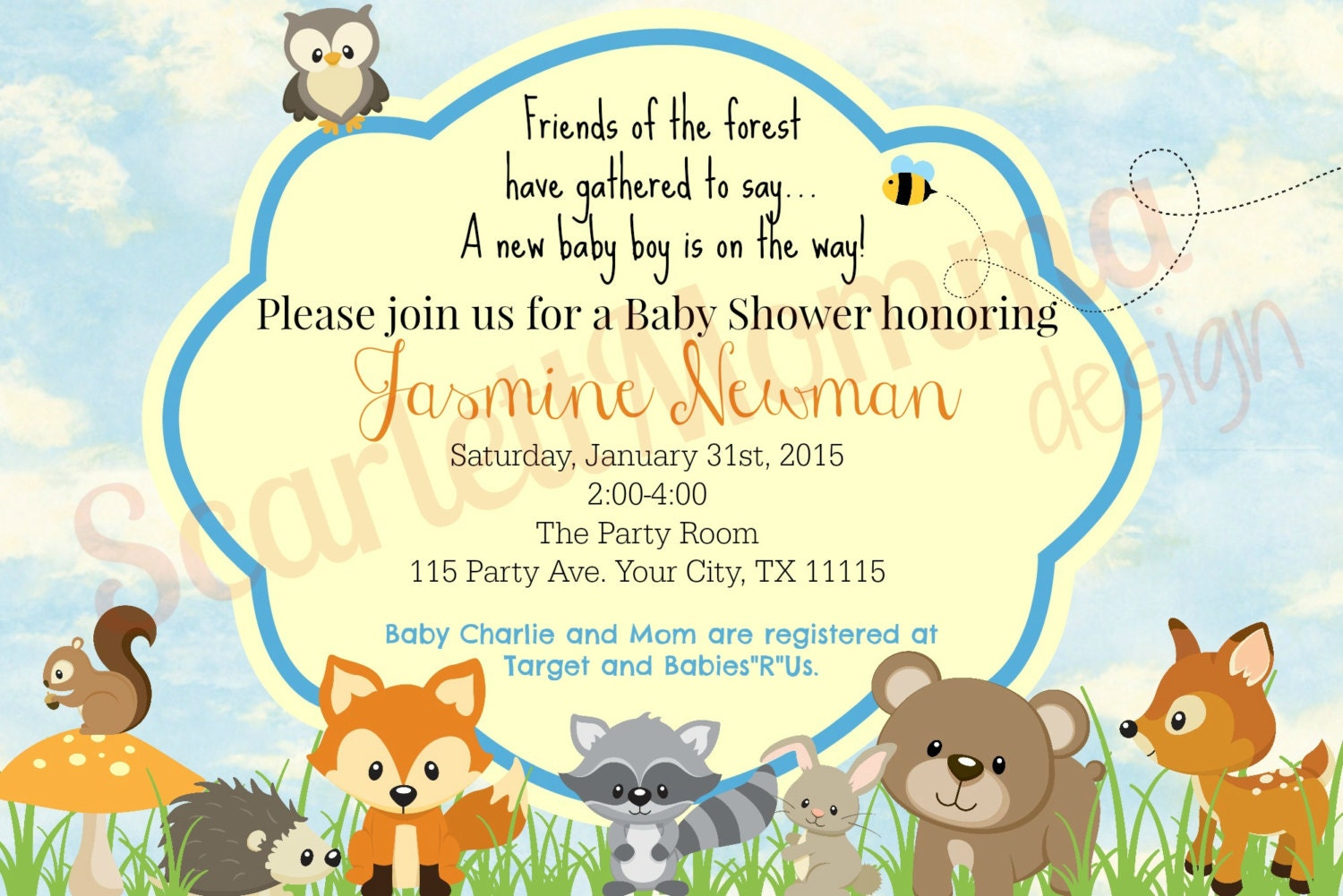 woodland animal boy baby shower invitation by scarlettmomma
