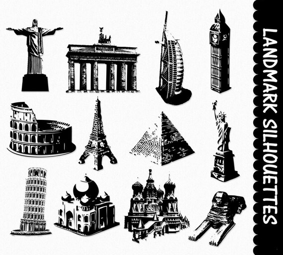 Clip Art Graphics Places Clipart Scrapbook Silhouette Pisa Statue ...