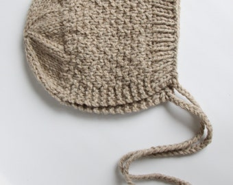 Hand knitted baby bonnet hat merino alpaca size 1,5-2,5 years