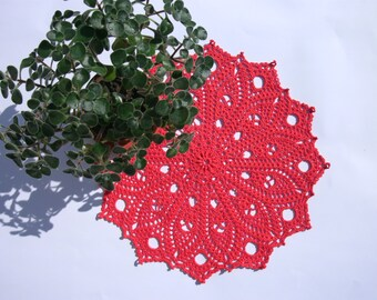 Red lace doily 12 inches Round lace doily Crochet table topper Crochet home decor Mothers day gift idea For her Red home decor