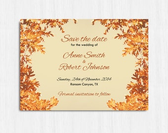 Autumn Save the date, Autumn invitation, Printable, DIGITAL save the date, Printable Digital file, leaves Invitation, brown, orange green