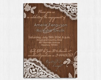 Engagement Party Invitation, Rustic Wood, Lace Invite, Lace engagement party, Printable Rustic invitation, Wooden invitation, RusticElegance