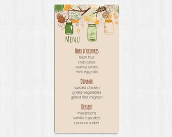Printable Menu, Autumn Mason Jar menu, wedding menu, rustic menu, mason jars wedding menu, printable menu, wedding menu, fall wedding menu