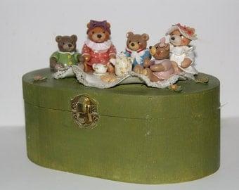 Cute bears' tea party wooden box