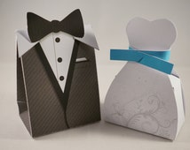 Wedding Bride and Groom Favor Box, Goodie Loot Bag - Tuxedo and Gown Design Custom Colour