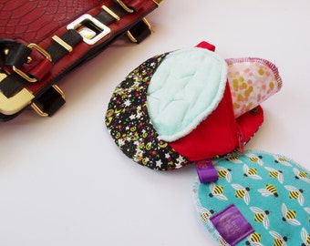 """Mini 6"""" Moon Wetbag Zippered with snap closed strap Wristlet Wet and Dry Bag for Reusable Pads"""
