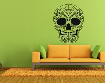 Wall Vinyl Sticker Decals Mural Room Design Pattern Scull Skeleton Floral Tattoo bo569