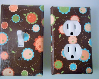 whimsical, brown, floral, modern, switch plate, light switch cover,light, housewares, home decor,light switchplate cover,