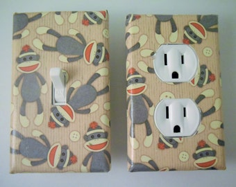 sock monkey,switch plate, light switch cover,light, housewares, home decor,light switchplate cover, outlet cover, nursery, kids room