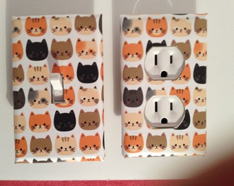 Kitty cat switchplate cover, outlet cover, cat decor, hand made switchplate
