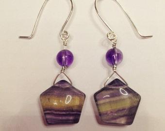 Banded Amethyst Earrings