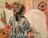 Angel Art, Angel Decor, Angel Painting, Angel Mixed Media, Mixed Media Art, Mixed Media Collage, Vintage Nude Woman, Vintage Photo, PRINT