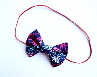 """Lilly Pulitzer """"SPARKS FLY"""" Patriotic Fabric Bow, Red White and Blue Bow, Lilly Pulitzer Bow, Fourth of July Bow, Lilly Pulitzer"""