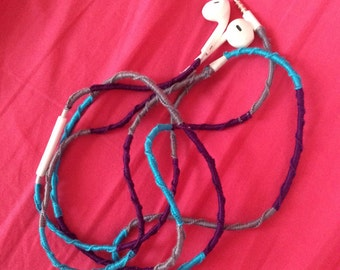 FREE SHIPPING tangle-free custom wrapped headphones apple with mic