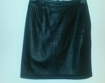 "Vintage 20"" black leather skirt. Great shape, owned and worn with lots of love."