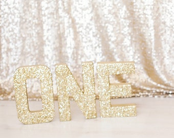 gold silver glitter stand up one letter sign first birthday photo prop party decor paper mache letters winter onederland decorations