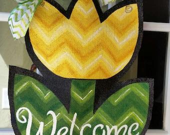 Yellow Tulip Burlap Door Hanger Decoration and Wreath Replacement