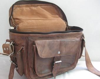 Distressed Leather Camera Satchel Camera Bag - Genuine Leather Bag