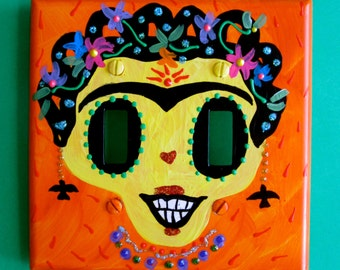 Frida Kahlo Day-of-the-Dead double switchplate