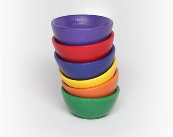 READY TO SHIP: 6-Piece Rainbow-Colored Wooden Stacking Bowls / Montessori Toy / Waldorf Toy / Baby & Toddler Toys / Eco-Friendly Toys