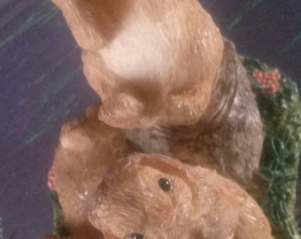 See No Evil RABBIT Moral  Vintage Collectible Bunny Rabbits Stone Critters United Design