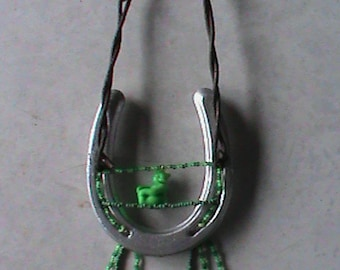 Beaded & Decorated Used Texas Pony Shoe and Texas Barb wire and Green Bear