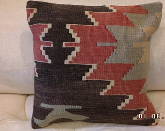 Handmade 100%  Wool Turkish Kilim Pillow 15'' x 15''