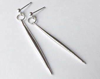 Sterling Silver Post with Spike Dangle Earrings Silver Womens Jewelry