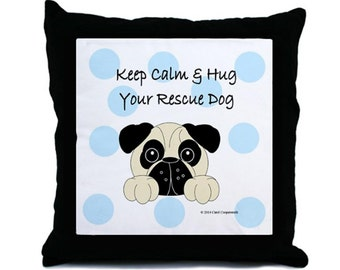 Rescue Pug Pillow. Personalized