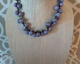 Lavender crocheted necklace