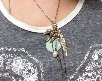 Gold/ Antique Flying Bird Necklace