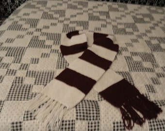 Handmade Maroon and White scarf