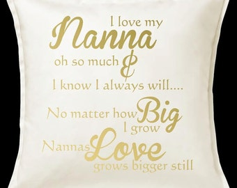 Nanna POEM Nanny Blessed Custom Personalised Cushion Pillow Definition Nan Grandma Grandkids Keepsake Heirloom