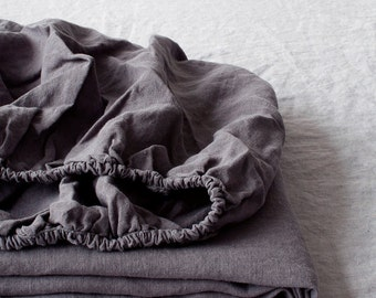 Dark Grey Fitted Stone Washed Linen Bed Sheet