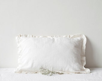 White Vintage Stone Washed Linen Pillow Case