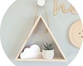small wooden triangle shelf  pine triangle shadowbox  hand made decorative triangle shelf  geometric shelf design.