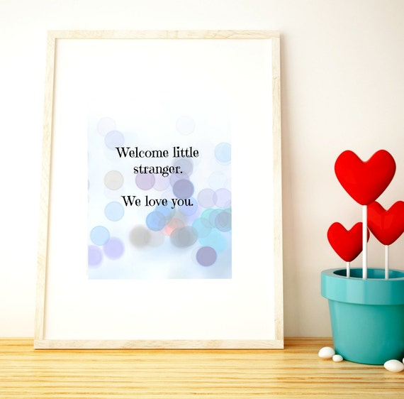 Nursery wall art welcome new baby instant nursery decor for Welcoming baby home decorations